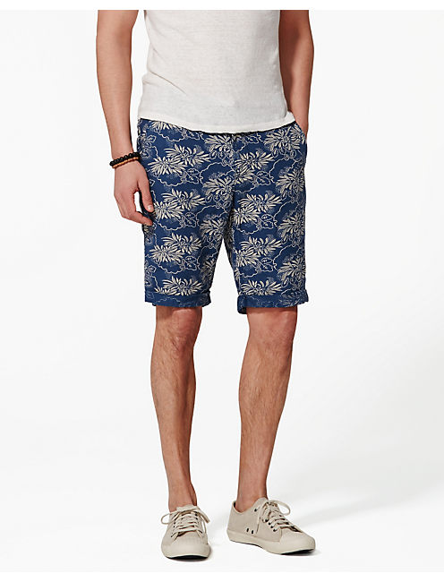 TROPICS LINEN SHORT, NAVY/NATURAL