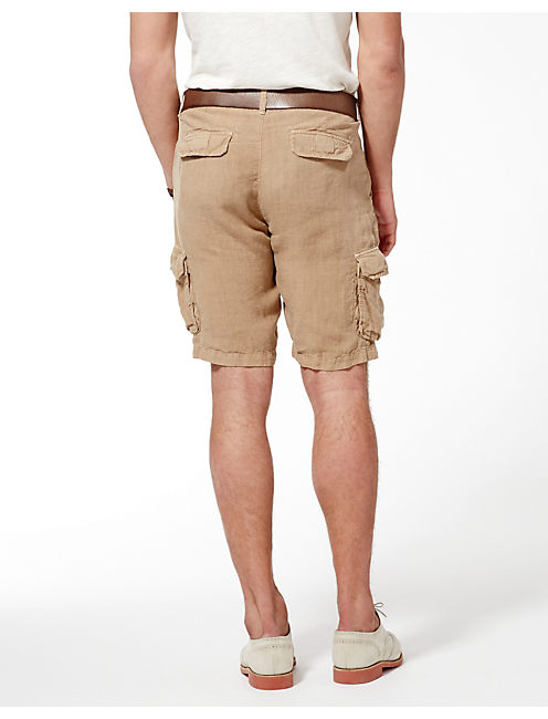 LONGBEACH LINEN SHORTS, EARTH BROWN