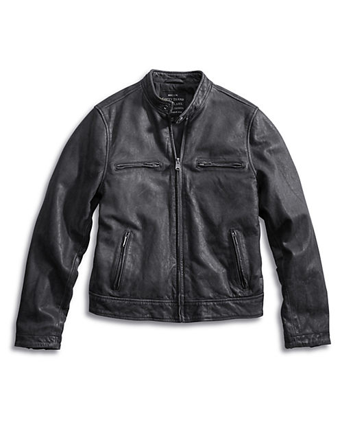 BONNEVILLE LEATHER JACKET, #001 BLACK