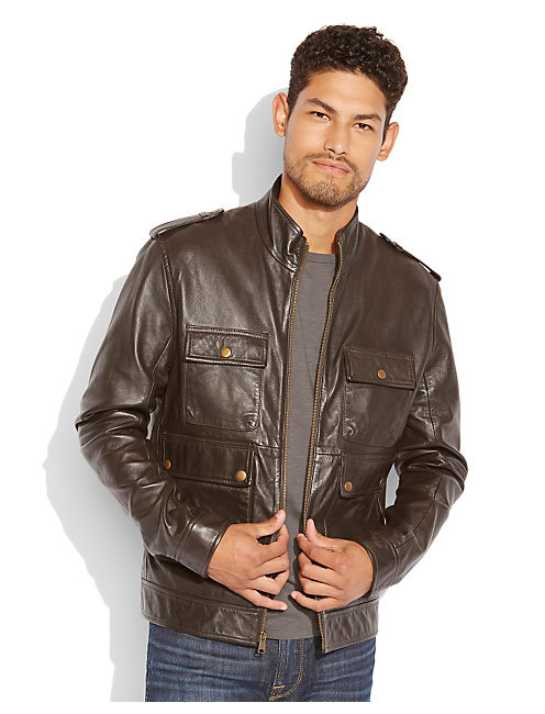 NORTON LEATHER JACKET, BROWN