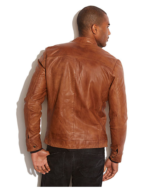 SALT FLATS LEATHER MOTO, BROWN