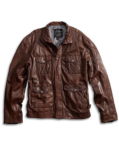 ROADSTER LEATHER JACKET, BROWN