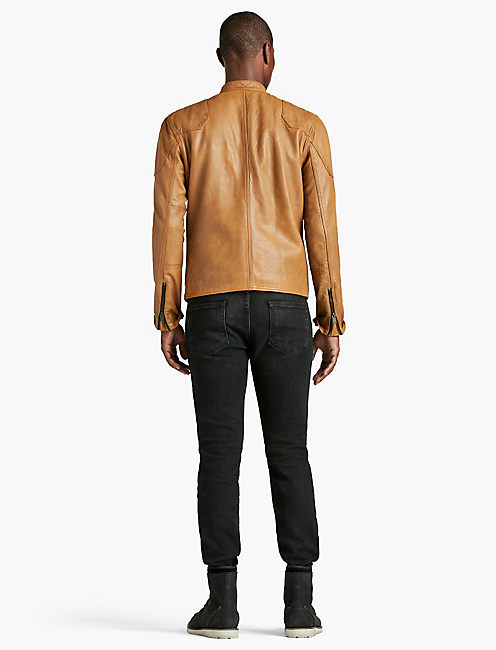THRUXTON LEATHER JACKET, HONEY MUSTARD