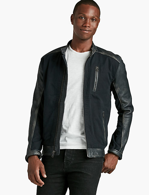 COTTON & LEATHER JACKET,