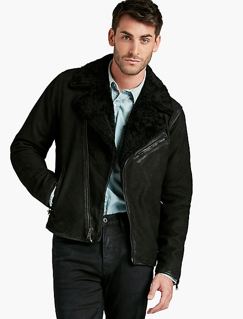 BIKER WITH REAL SHEARLING,