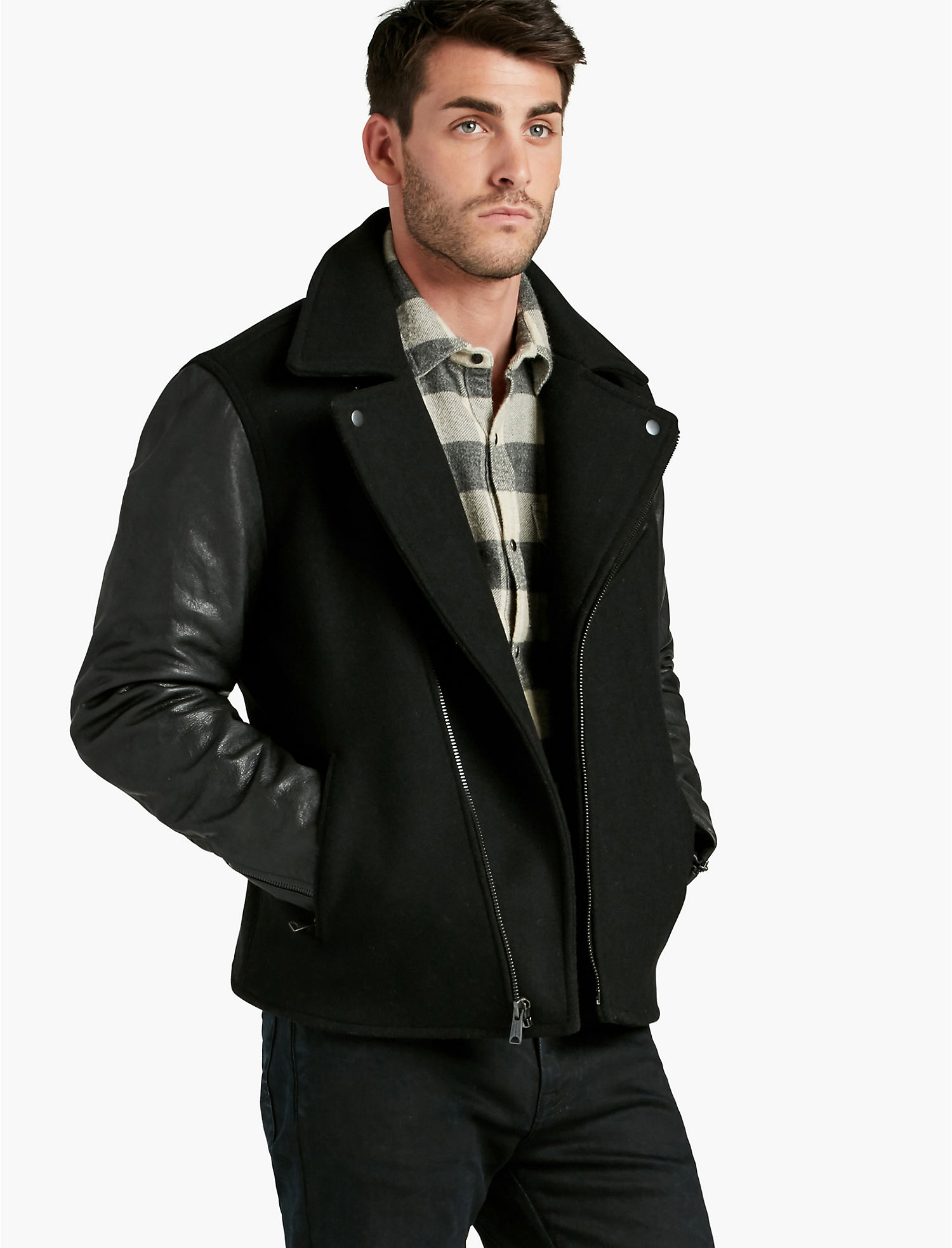 Mens jackets sale - Lucky Wool Leather Biker 399 00 199 97 Sale