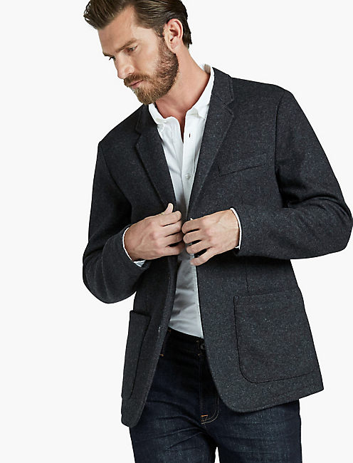UNLINED KNIT SPORTCOAT, CHARCOAL