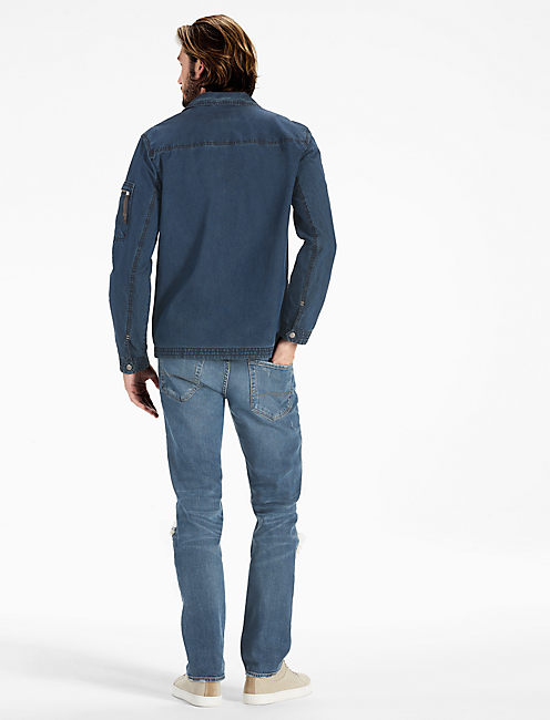 Washed Indigo Shirt Jacket, DARK INDIGO