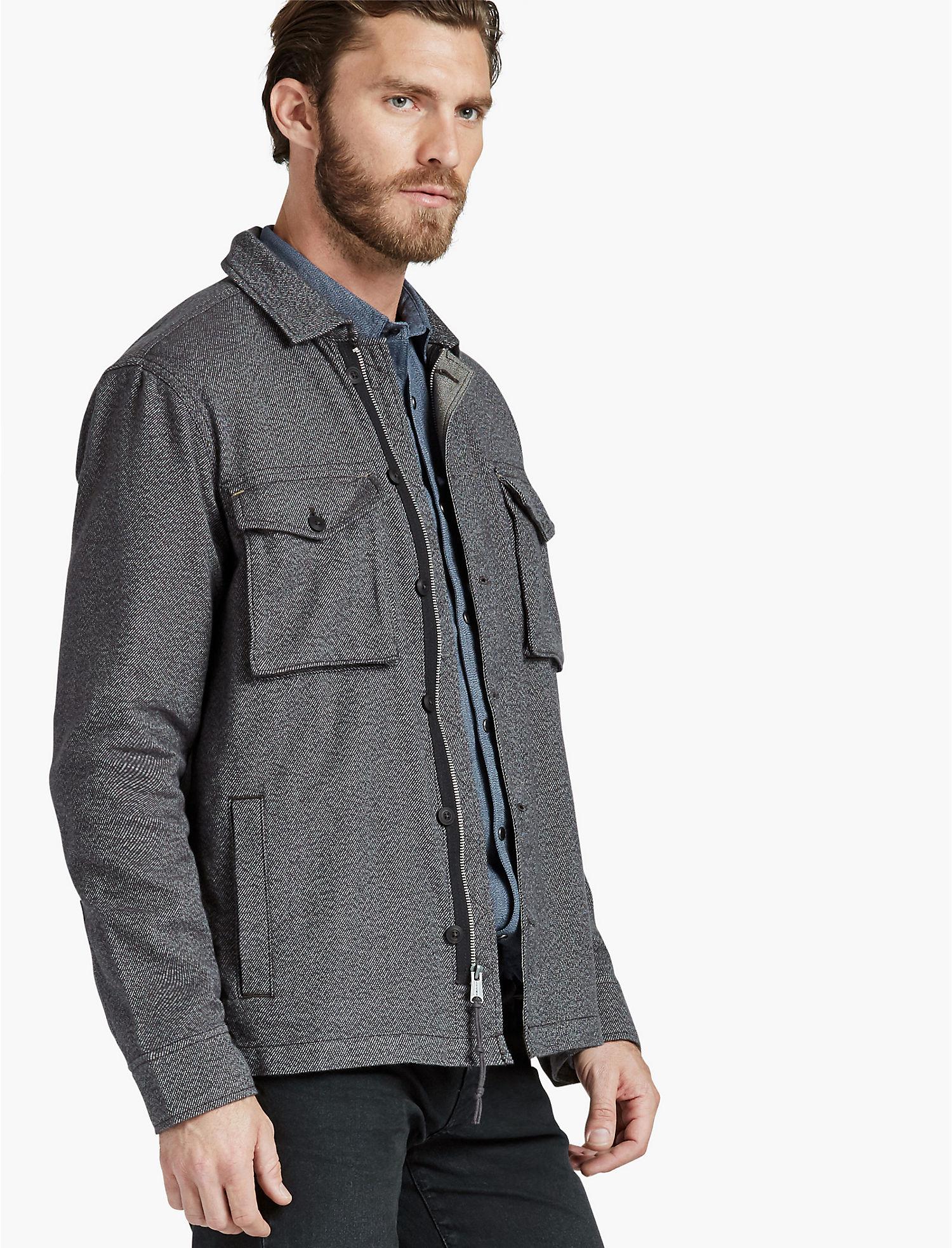 Lucky Brand Mens Jaspe Twill Shirt Jacket (Black)