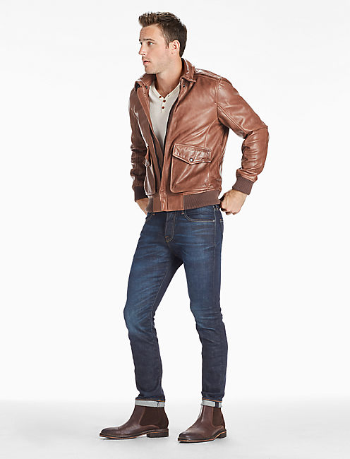 Lucky Northridge Leather Bomber Jacket