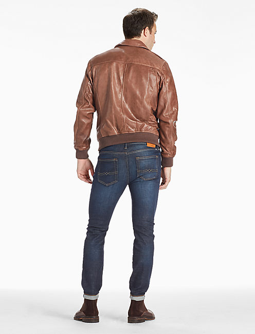 Northridge Leather Bomber Jacket, RUST