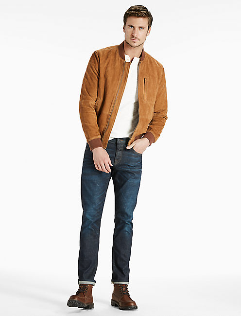 SUEDE BOMBER, BROWN