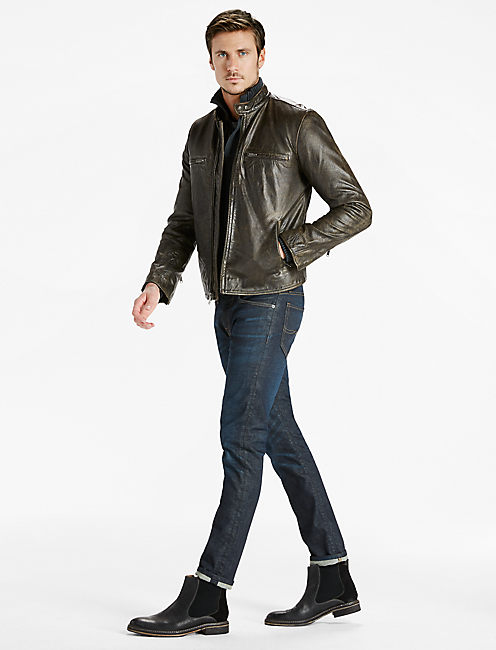 Classic Bonneville Leather Jacket, BLACK