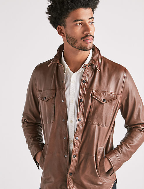 LEATHER SHIRT JACKET, BROWN