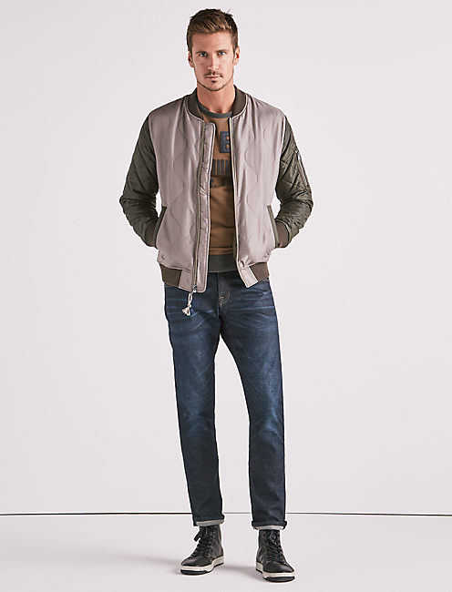 Quilted Colorblock Bomber Jacket,