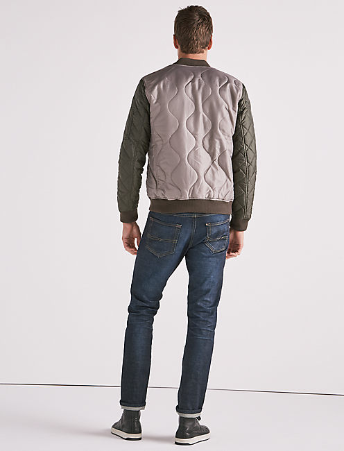 QUILTED COLORBLOCK BOMBER,