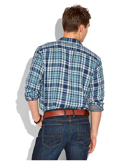 BARRACUDA PLAID 1 POCKET, BLUE/GREEN/NATURAL