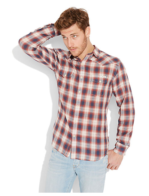 BONNINGTON PLAID WESTERN, RED/NATURAL/NAVY