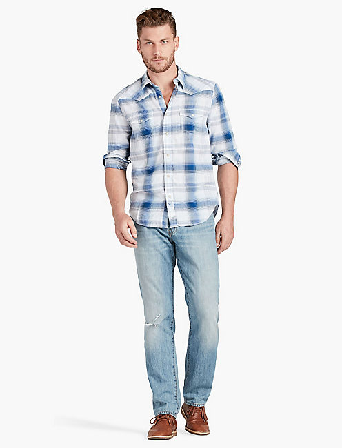 Lucky Bone Blue Plaid Western