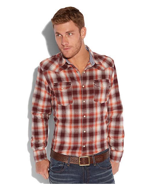 CREEKSIDE PLAID WESTERN, ORANGE PLAID