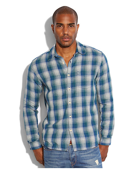 WHISTLER PLAID 1 POCKET, BLUE/GREEN/NATURAL