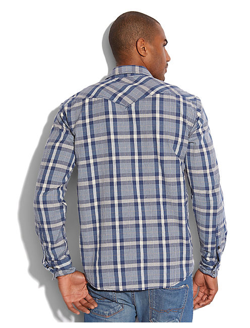 POWDER LINE PLAID WESTERN, NAVY/BLUE/WHITE