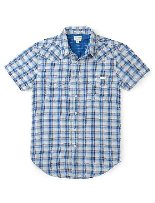 BOULDER PLAID WESTERN, BLUE/WHITE