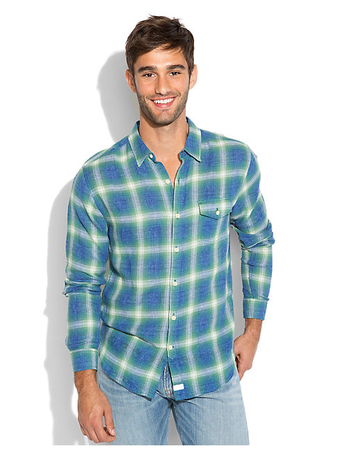 PIONEER PLAID 1 POCKET, BLUE/GREEN/NATURAL