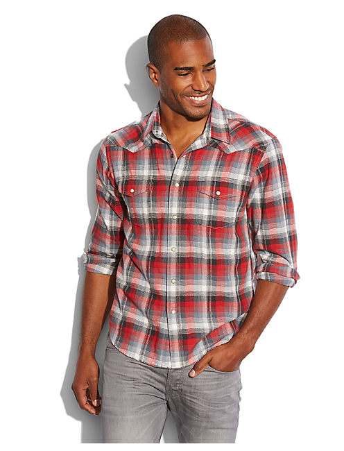 DOWNDRAFT PLAID WESTERN, RED PLAID