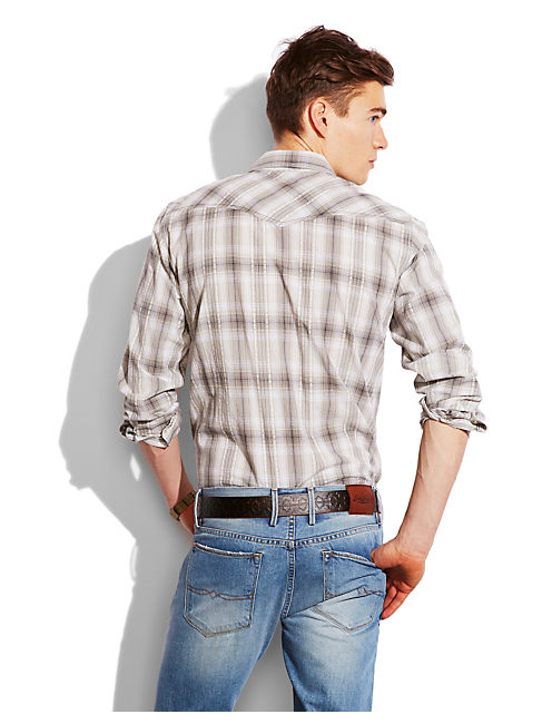 LARKSPUR WESTERN SHIRT, GREY/NATURAL