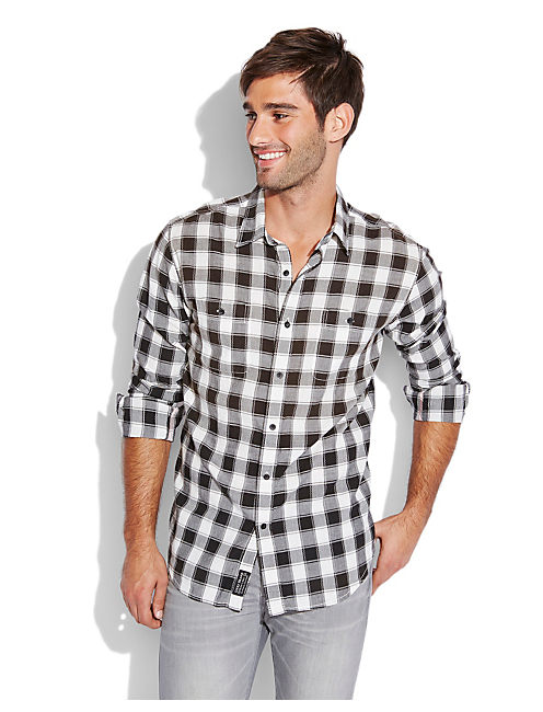 BARMOUTH PLAID 2 POCKET, BLACK/NATURAL