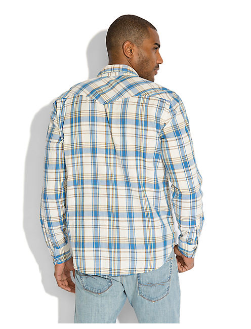TIMBERLINE PLAID WESTERN, NATURAL / BLUE / YELLOW