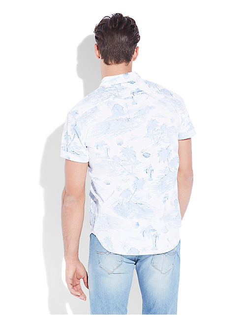 ISLAND PRINT SHIRT, BLUE/WHITE