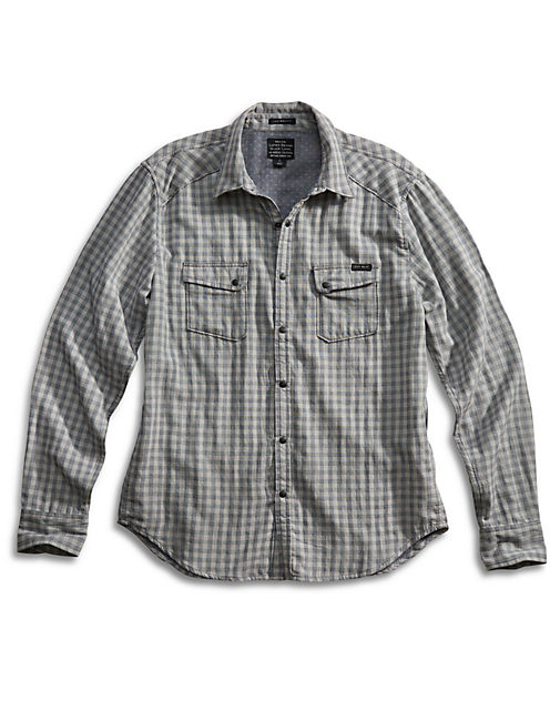 TWIN CAM WESTERN SHIRT, BLUE/GREY