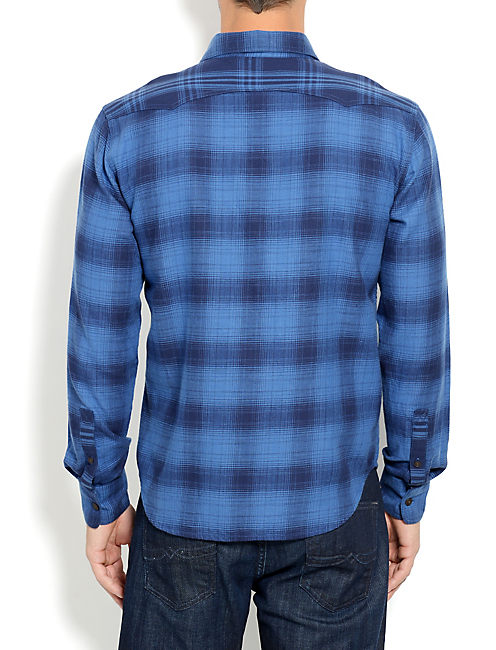 TOMBSTONE WESTERN SHIRT, BLUE PLAID