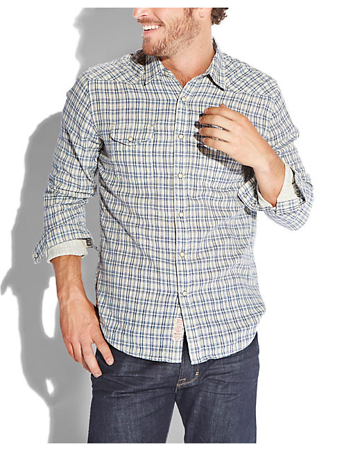 CASCADE WESTERN SHIRT, BLUE PLAID