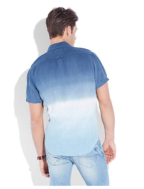 DUMONT DIP DYE SHIRT, BLUE MULTI