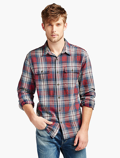 JON INDIGO WORKWEAR SHIRT, INDIGO/RED/WHITE