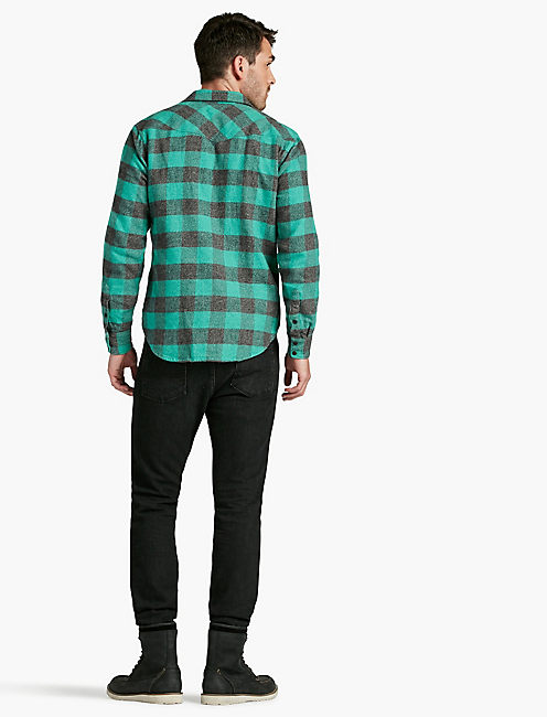 SIERRA WESTERN SHIRT, CHARCOAL/GREEN