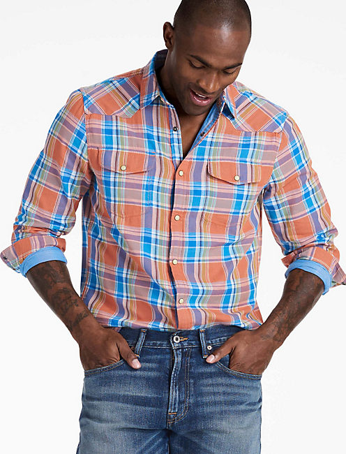 Doubleweave Santa Fe Western Shirt, ORANGE/BLUE