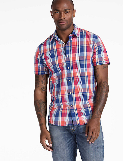 Short Sleeve Ballona Shirt, BLUE/ORANGE