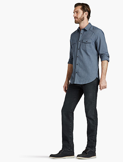Washed Indigo Moto Western Shirt,