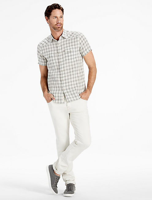 LAGUNA LINEN WESTERN SHIRT, HEATHER GREY/NATL