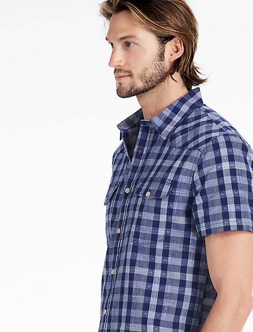 Indigo Dobby Santa Fe Western Shirt, BLUE/WHITE