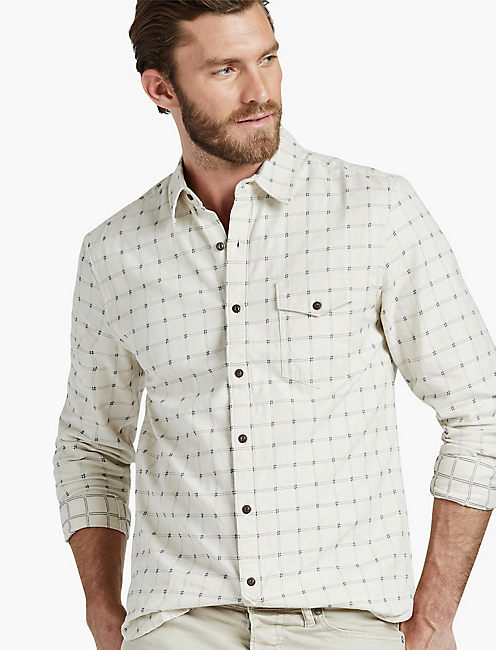 Dobby One Pocket Shirt, NATURAL/NAVY