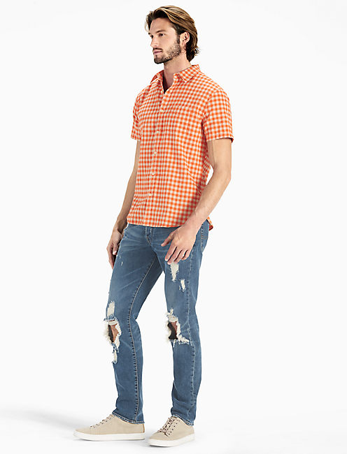 Gingham Short Sleeve Ballona Shirt, ORANGE/NATURAL