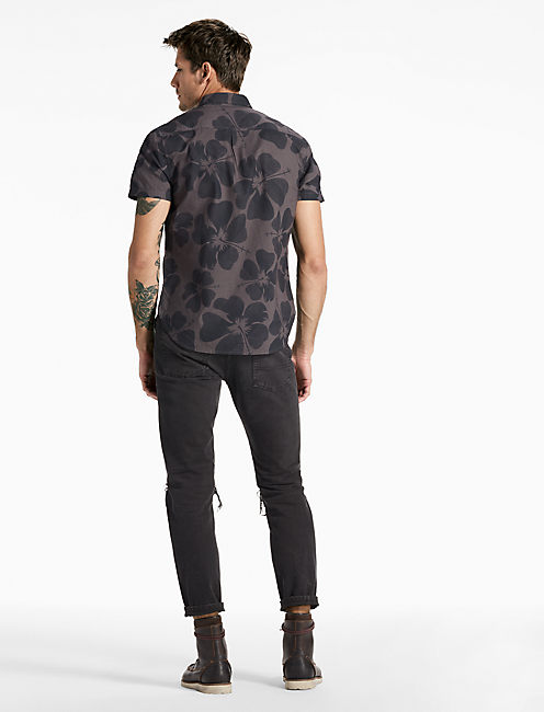 Hibiscus Floral Shirt, BLACK MULTI