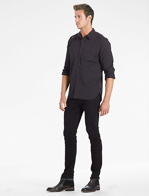 Saturday Stretch Military Oxford Shirt, JET BLACK