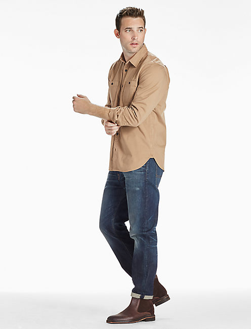 Saturday Stretch Military Oxford Shirt, ELMWOOD