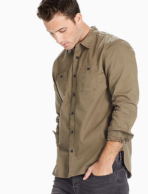Saturday Stretch Military Oxford Shirt, IVY GREEN